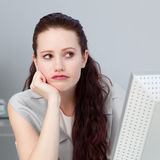 Close-up of a bored businesswoman Royalty Free Stock Photo