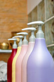 Spa Cosmetics. Close up of bottle cosmetics in a beauty salon Royalty Free Stock Photography