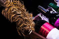 Close Up Bottle Wine In Basket Stock Photo
