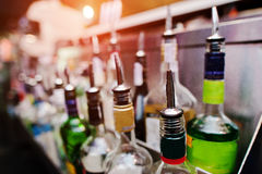 Close up bottles of alcohol and liquor at the bar.  Royalty Free Stock Image