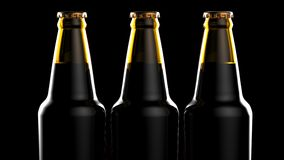 Close up bottles of beer on a black background. 3d illustration. Close up bottles of beer on a black background Royalty Free Stock Photo