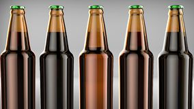 Close up bottles of beer on a gray background. 3d illustration. Close up bottles of beer on a gray background Stock Images