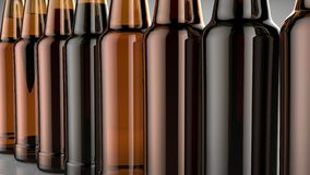 Close up bottles of beer on a gray background. 3d illustration. Royalty Free Stock Photo