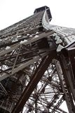 close-up from bottom of Eiffel tower looking up. Royalty Free Stock Photo