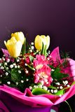 Bouquet. Close up of Bouquet of  spring flowers and yellow tulips Stock Photos
