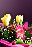 Bouquet. Close up of Bouquet of  spring flowers and yellow tulips Royalty Free Stock Image