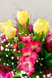 Bouquet. Close up of Bouquet of  spring flowers and yellow tulips Royalty Free Stock Photography