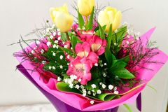 Bouquet. Close up of Bouquet of  spring flowers and yellow tulips Royalty Free Stock Images
