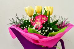 Bouquet. Close up of Bouquet of  spring flowers and yellow tulips Stock Photo