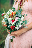 Close Up Of Bouquet in Woman Hands Royalty Free Stock Photos