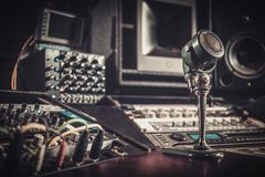Close-up of boutique recording studio control  desk. Stock Photography