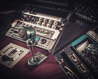 Close-up of boutique recording studio control  desk. Royalty Free Stock Image