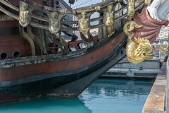 Close Up of the Bow of an Ancient Pirate Galeon. On Blur Background stock photography