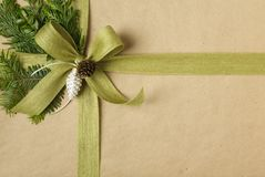 Beautiful Christmas gift wrapped in recycled wrapping paper with natural botanical decorations. stock photography