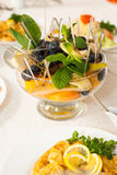Close up of bowl with assortment of fresh fruits Royalty Free Stock Photography