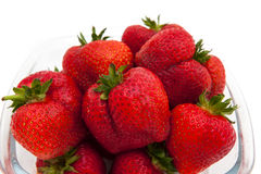 Close-up of a bowl with big and beautiful strawberries Stock Photography