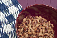 Close Up of Bowl of Canned Black Eyed Peas Royalty Free Stock Photography