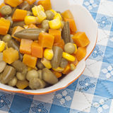 Close Up of Bowl of Canned Mixed Vegetables Stock Images