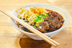 Close up of a bowl of Chinese style beef noodle soup Royalty Free Stock Image