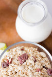 Close up of bowl with granola or muesli on table Royalty Free Stock Image