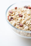 Close up of bowl with granola or muesli on table Stock Photography