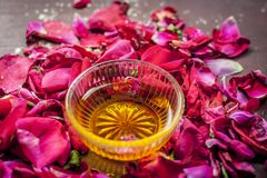 Close up of a bowl of honey,Fructose on rose,rosa petals royalty free stock image