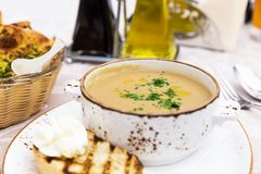 Close up of bowl with mushroom cream soup Royalty Free Stock Photography