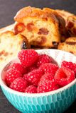 Close up of bowl of raspberries. A close up of bowl of raspberries Stock Photo