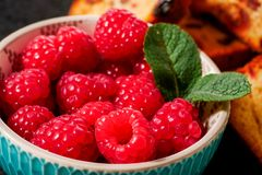 Close up of bowl of raspberries. A close up of bowl of raspberries Stock Images