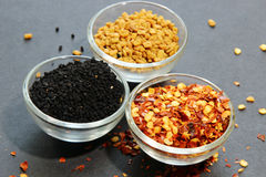 A close up of bowls of Indian spices Stock Photography