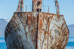 Close-up of bows of old rusting whaler stock images