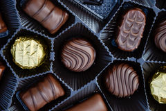 Close up of a box of chocolates.  Royalty Free Stock Image