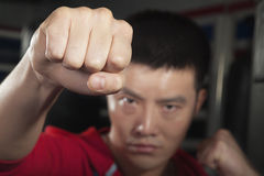 Close up of boxer throwing a punch at the camera Royalty Free Stock Photography