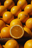 Close up of a boxes of oranges Royalty Free Stock Photo