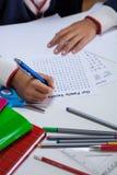 Close-up of boy doing homework Stock Photos