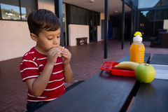 Close up of boy eating while sitting by table Royalty Free Stock Photos