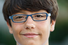 Close-up of a boy with glasses Royalty Free Stock Photos