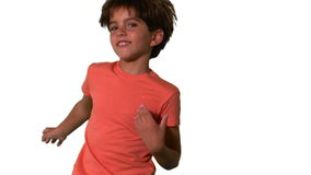 Close up of boy jumping on white background stock video