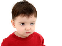 Close Up of Boy Looking Upset Stock Photography