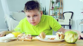 Young boy eating a hot dog stock video footage