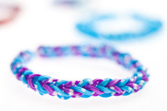 Close up of bracelets made with rubber bands. Stock Photo