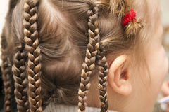 Close up of braid hair of little girl Stock Photo