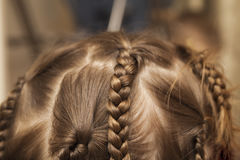 Close up of braid hair of little girl Royalty Free Stock Images