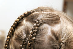 Close up of braid hair of little girl Stock Photos