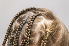Close up of braid hair of little girl.  Royalty Free Stock Image