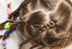 Close up of braid hair of little girl.  Royalty Free Stock Images
