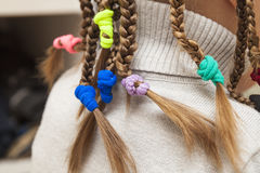 Close up of braid hair of little girl.  Stock Images