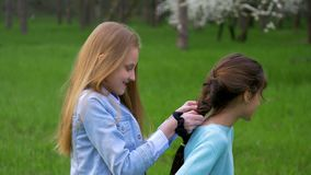Close up braiding plait Young beautiful little girlfriend hairstyles outdoors.  stock video