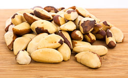 A close-up of Brazil nuts on a white background Royalty Free Stock Photography