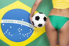 Close up of brazilian football fan Stock Images
